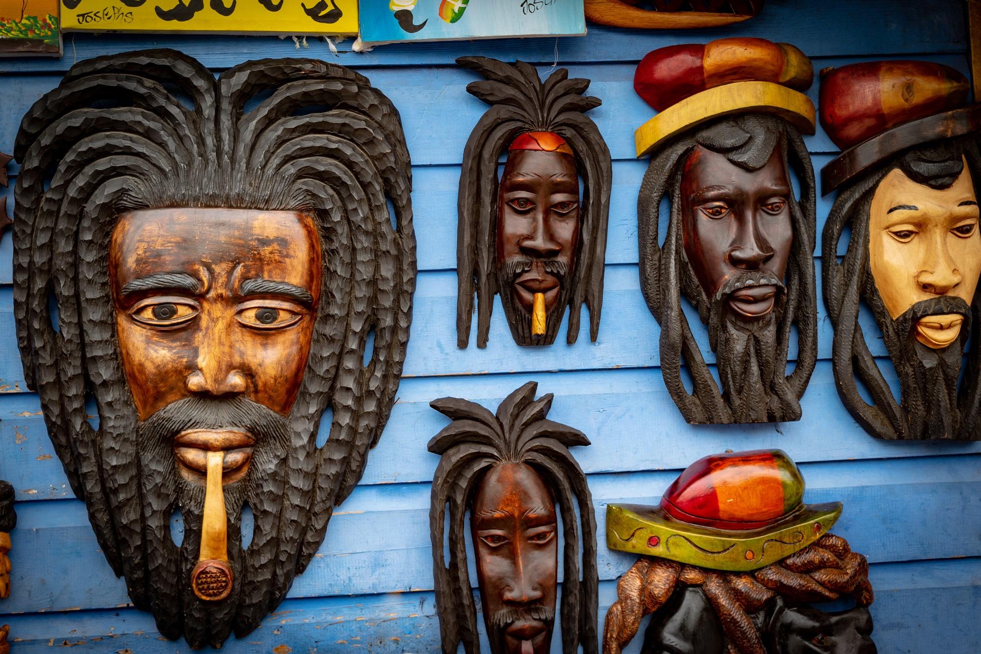 La Jamaïque caraïbes masques en bois